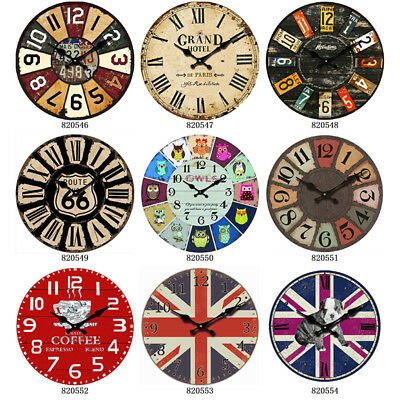 Retro Vintage Wall Clocks Quartz Clock Mute Decor Ornaments Different Sizes