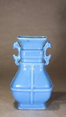 Chinese Blue Glazed Twin Handled Vase