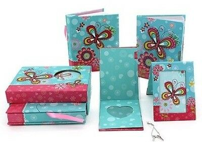 Girls Childrens Butterfly Blue/Red Lockable Diary w Photo Album & Frame Box Set