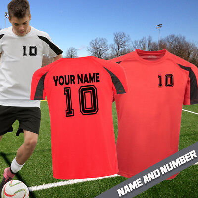 f9eb1edd8 Personalised Football Shirt Contrast Boys Girls Your Name   Number Added  Number