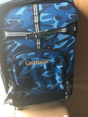 d34d410a33 Pottery Barn Kids Mackenzie Large Blue Camo Skateboard Spinner Luggage
