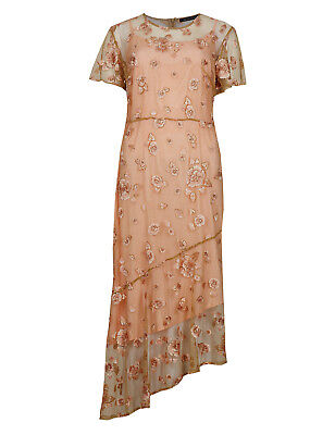 Ex Famousstores Embroidered Short Sleeve Occasion Midi Dress Lace Overlay M&5 Ms