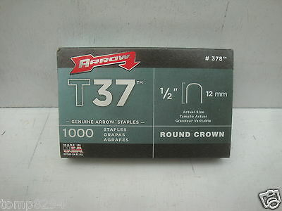 """Pack Of 1000 X 12Mm 1/2"""" Arrow T-37 T37 Round Crown Wire And Cable Staples"""