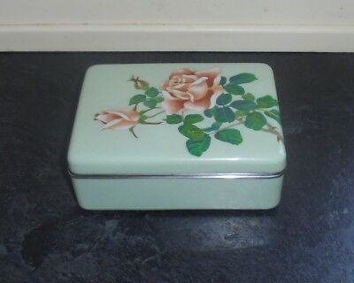 Antique Taisho Period Japanese Cloisonne Lidded Box - Pale Green Ground c.1920
