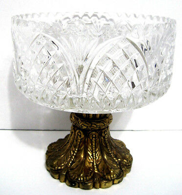 Heavy Vintage Crystal & Brass Tone Metal Compote Decorative Antique Footed Bowl