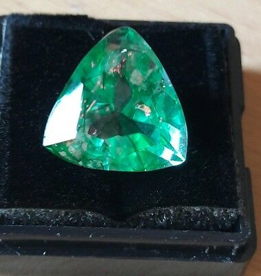 Stunning  Trillion Shape Emerald 10.82 Ct Certified Colombian Gemstone