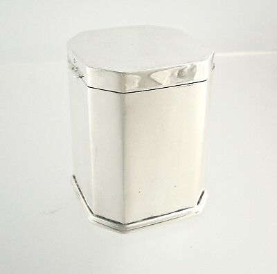 English Sterling Silver Tea Caddy 1907 | Levi & Salaman Birmingham | Vermeil