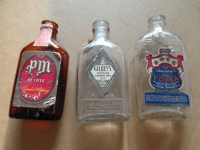 3 - 1940's - 1/10 Pint - Miniature Bottles - Smirnoff 100 - PM Deluxe - Gilbey's