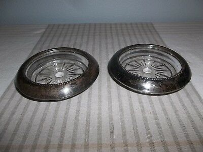 """Vintage Frank M Whiting Sterling Silver / Glass Lined Coasters Stamped 4"""""""