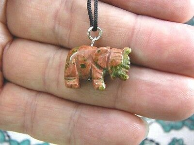 (an-ele-1) ELEPHANT Orange Green Unakite carving Pendant NECKLACE FIGURINE gem