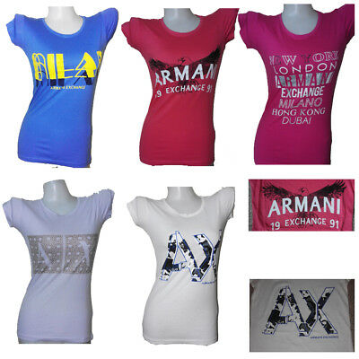 NWT ARMANI EXCHANGE Short Cap Sleeve O Neck Casual Top Tee T Shirt Women's