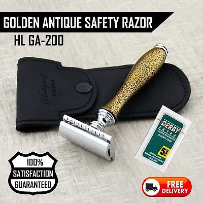 Antique Design Double Edge Safety Razor By Haryali London With travel pouch