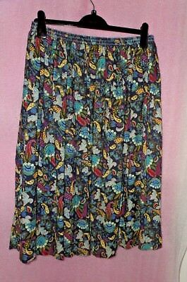 Beautiful Pleated Liberty Vintage Skirt Blue And Pink Floral Size M/l Ladies