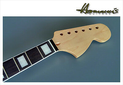 Stratocaster Canadian Maple Neck Big Headstock, White Bindings + Block Inlay´s