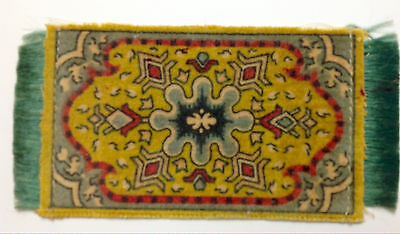 RUG Miniature Dollhouse Cigar Felt 1900s Turn of Century Green Yellow Red Excell