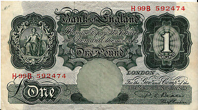 LANZ 1 Pound Bank of England Seated Britannia 1928-48 Very Fine ÐIVR18