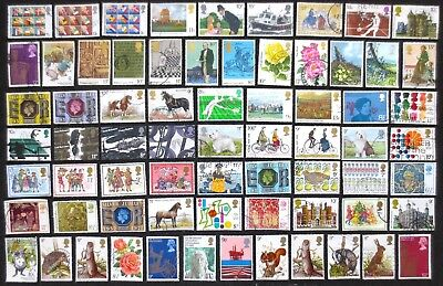 Great Britain - 1975/1979 - Approximately 65 Used Commemorative Stamps
