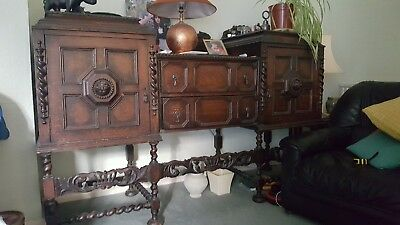 Antique replica Victorian Sideboard & matching dining table set solid Carved Oak