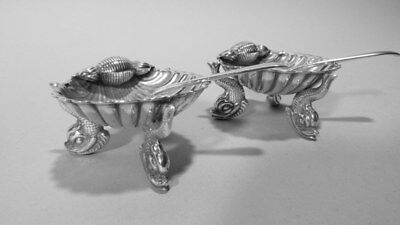 Rare Pair Hallmarked British Sterling Shell Shaped Open Salts with Spoons