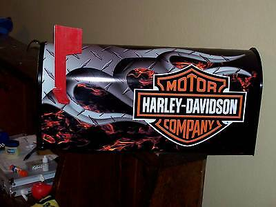"""HARLEY DAVIDSON MOTORCYCLE MAILBOX FLAMED """"Postmaster Approved"""" INDIAN VICTORY"""