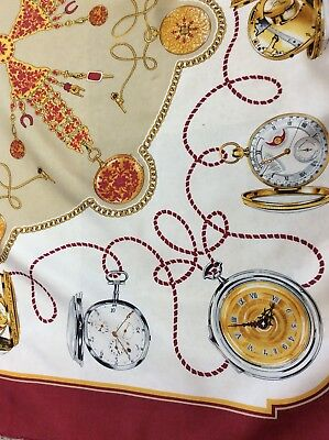 Vintage Signed Rolex Large silk scarf vibrant watch designs 84 cm square