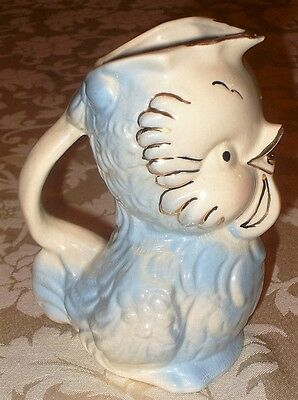 Vintage American Bisque Pottery ~ Blue Chicken / Bird ~ Creamer Pitcher
