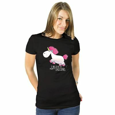 Official Ladies Despicable Me I Believe In Unicorns Black Fitted T-Shirt S-XL