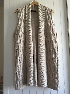 George At Asda Beige Knitted Long Line Waistcoat Size 18