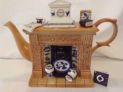 Cardew Collectable Lge Novelty Teapot Booths Old Willow Fireplace Grt Condition
