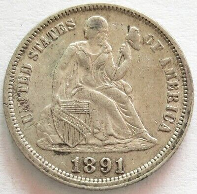 1891 Silver United States Seated Liberty Dime Coin Extremely Fine+ Condition