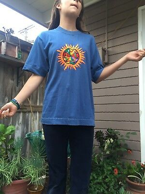 Grateful Dead Purple Moon Vintage Shirt Embroidered Sun and Bears
