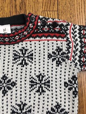 Hanna Andersson Baby Boy 60 3 6 Mo Pullover Sweater Fair Isle Print Navy Red