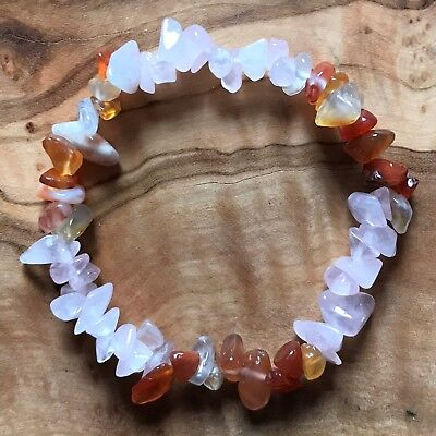 "Rose Quartz & Carnelian Gem Chip Bead Crystal Bracelet 7"" Grounding Positivity"