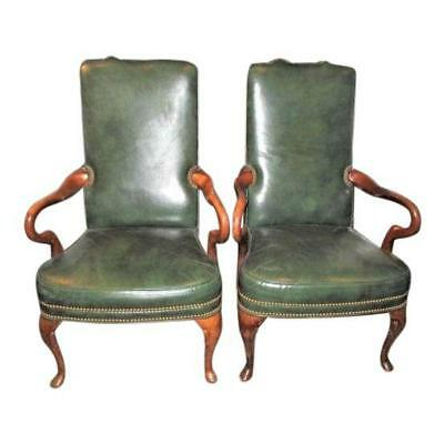 Pair of Leather Arm Chairs  Vintage Library - Office Goose Neck Made USA
