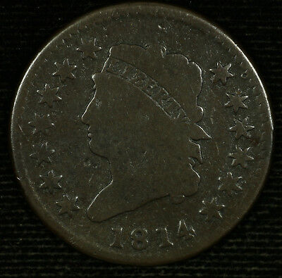 Classic Head Large Cent.1814 VG.Crosslet 4.  Lot # 9018-90-14