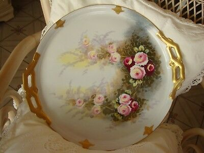 Rare Antique Limoges Ls&s Hand Painted Large Serving Tray Charger, Roses 15 1/2""