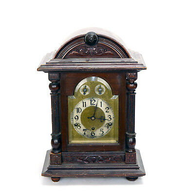 Vintage German Highly Carved Column Westerminster Chime Bracket Clock