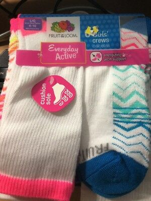 Fruit of the Loom Girls Crew Socks Size L Shoe Size 4-10 6 pack