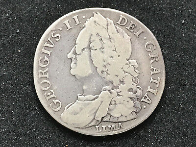 1746 Great Britain 1/2 Crown George II Silver Coin #ADP