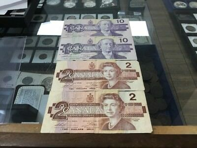 Canada 2/ 10 Dollars 1989 And  1986 2/2dollars Banknote Currency