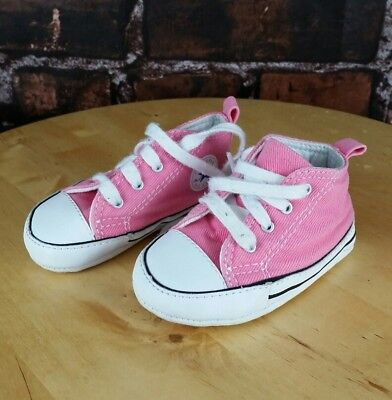 40393258ab2c CONVERSE NEWBORN CRIB BOOTIES Pink 88871 FIRST ALL STAR BABY SHOES Size 3c