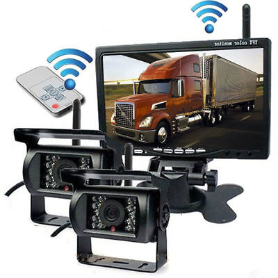 "7"" Monitor+2Pcs Wireless Rear View Backup Camera Night Vision For RV Truck Bus"