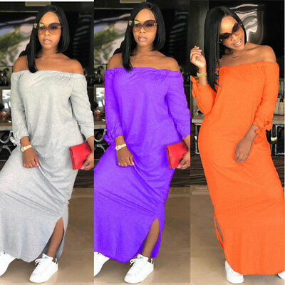 Sexy Off Shoulder Solid Summer Beach Casual Maxi Loose Dress 5 Colors Women