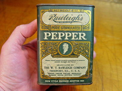 Antique 1921 Rawleigh's Black Pepper Old 1/2 Lb. Kitchen Spice Advertising Tin