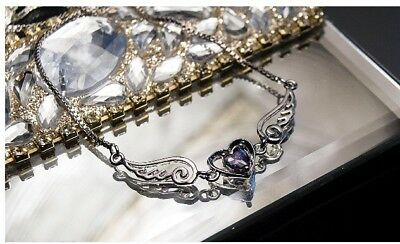 US Seller ANGEL WINGS PENDANT NECKLACE Heart Love Crystals Jewelry