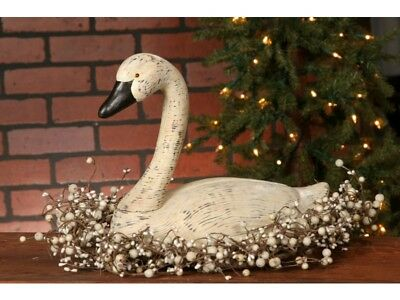 New Primitive Country Folk Art Carved Resin Large White Goose Duck Swan