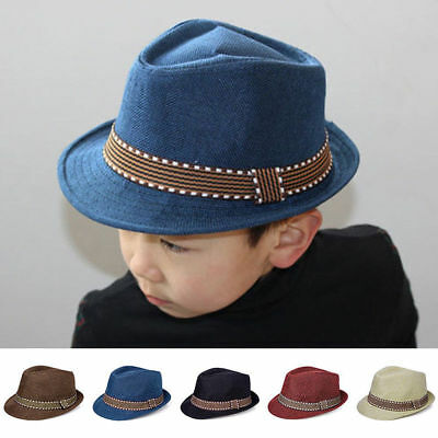 Baby Girl Boy Toddler Kid Cap Fedora Hat Jazz Caps Photography Props Trilby Top