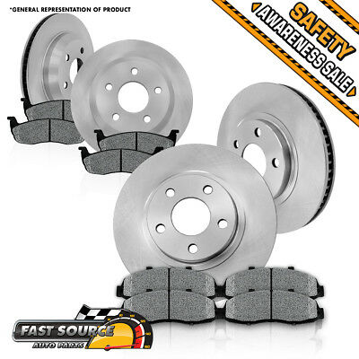Front 303mm and Rear 305mm OE Brake Rotors Low Dust Metallic Pads CHEVY PONTIAC