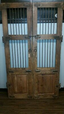 Pair of Antique 19th Century Solid Wood Iron Doors from Arkansas Post Office