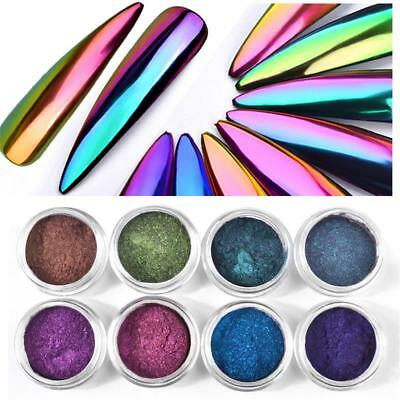 Hot Metal Holographic Effect Chrome Nail Polish Powder Pigment Changing Colors